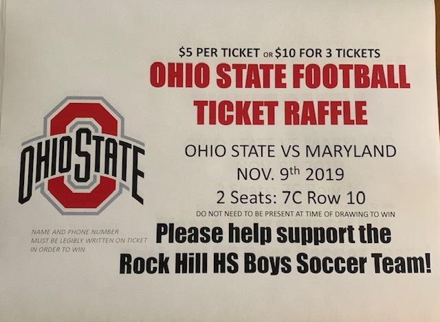 HS BOYS SOCCER RAFFLING OFF OHIO STATE VS MARYLAND FOOTBALL TICKETS