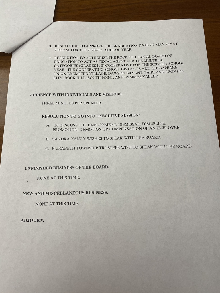Board meeting agenda. Page 2