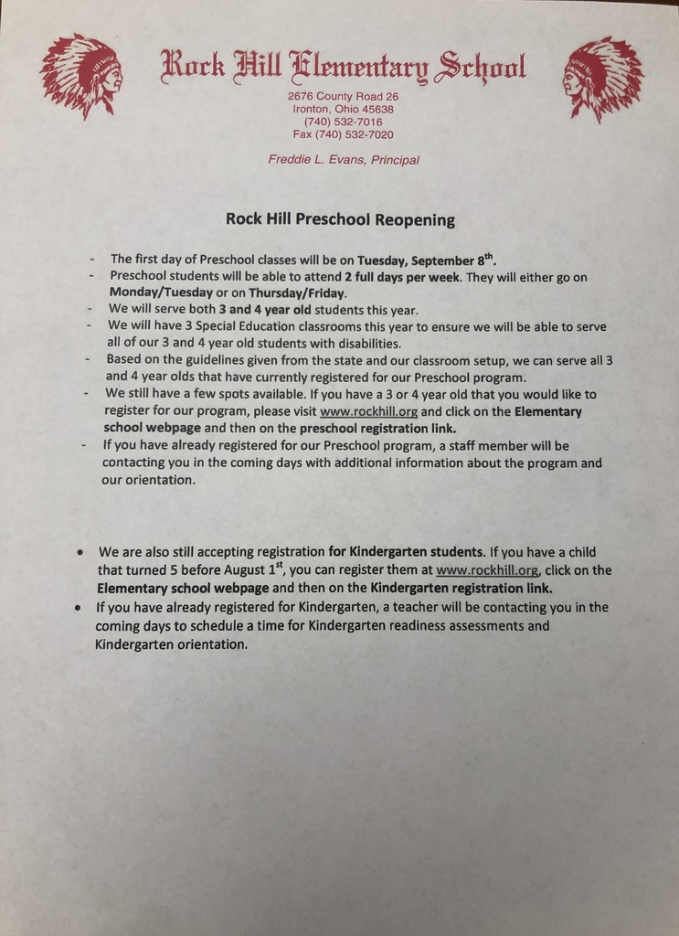 Preschool Reopening Information
